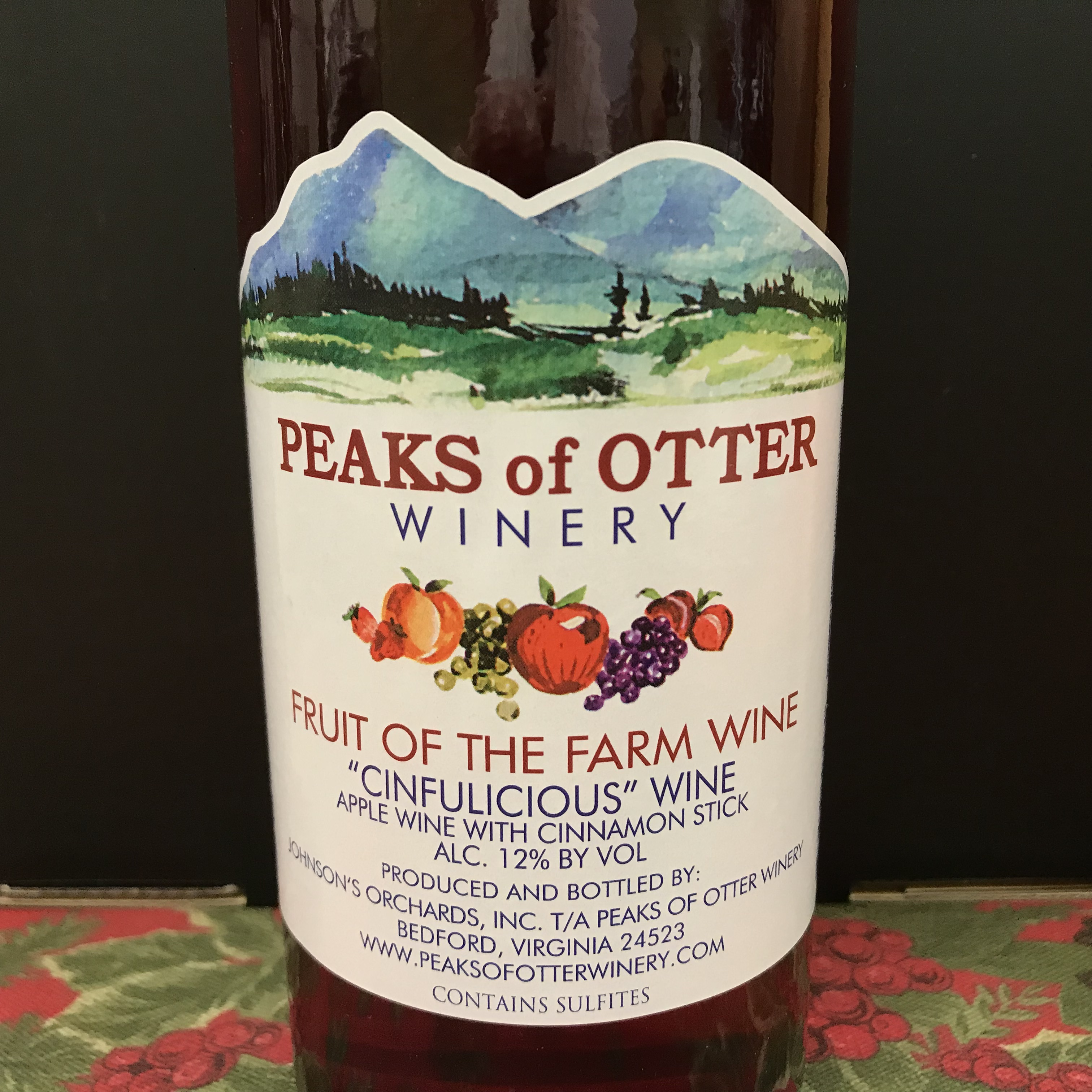 "Peaks of Otter Fruit of the Farm ""Cinfulicious"" apple wine"