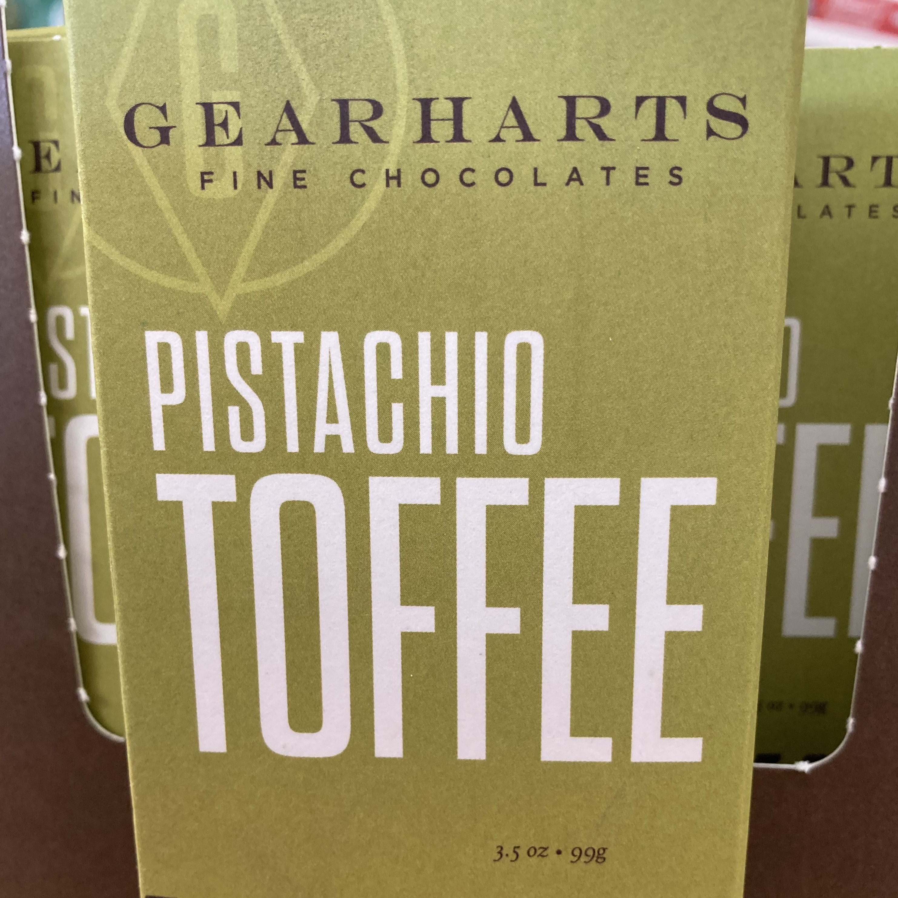 Gearharts Chocolate Dipped Pistachio Toffee