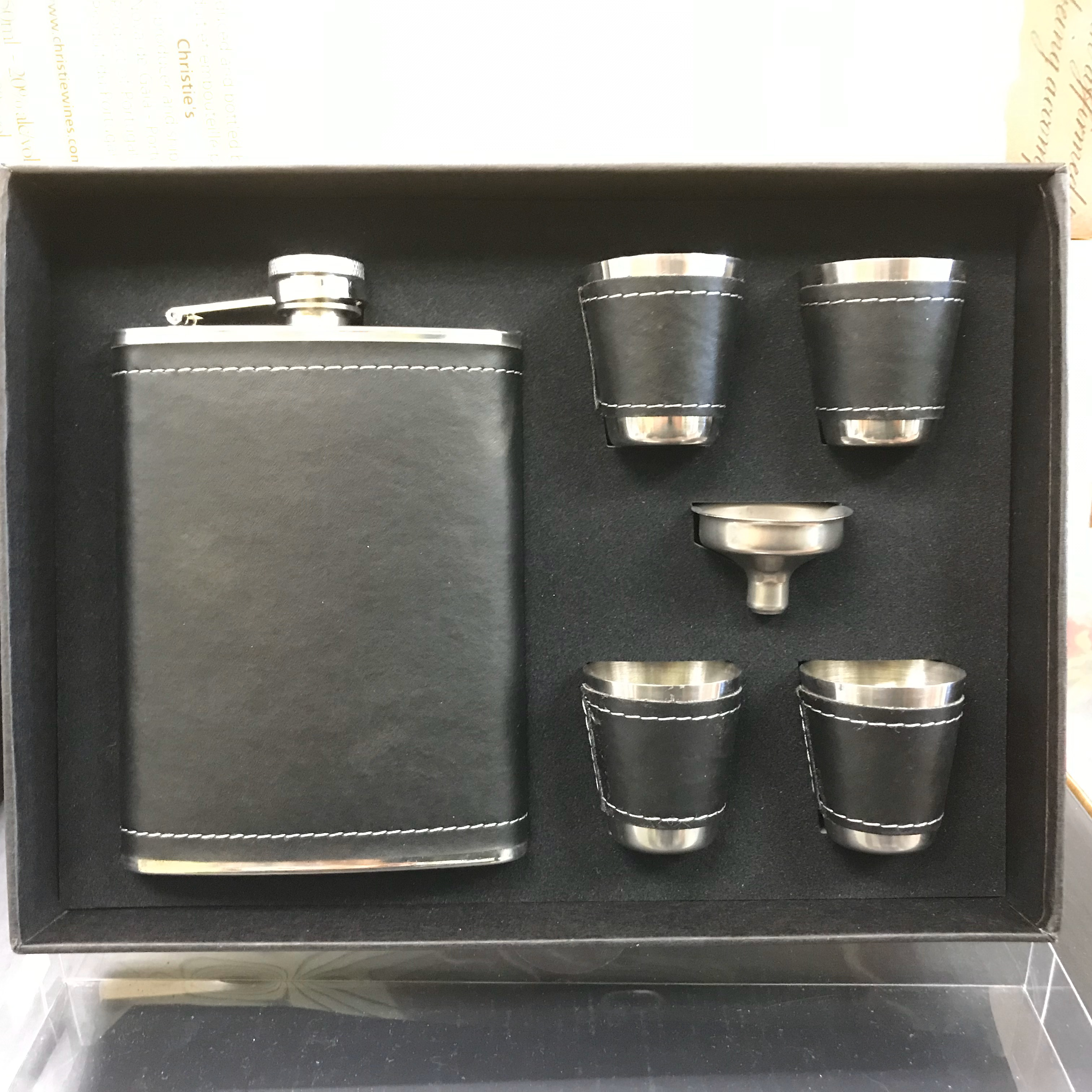 Flask metal leather wrapped with 4 shot cups & funnel 80z