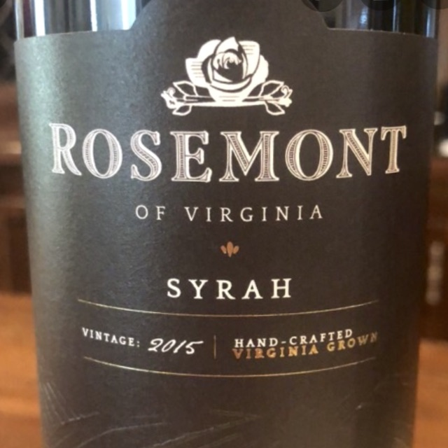Rosemont Winery Virginia Syrah 2017